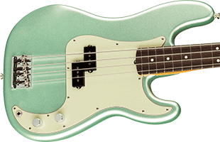 close-up top view of Fender American Professional II Precision Bass showing body and part of neck