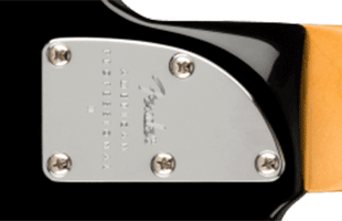 underside detail image of Fender American Professional II Precision Bass showing neck heel