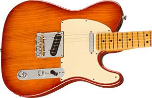 close-up top view of Fender American Professional II Telecaster showing body and part of neck