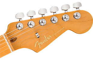 detail image of Fender American Ultra Stratocaster headstock top showing tuning machines
