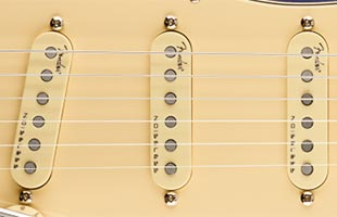 detail image of Fender American Ultra Stratocaster showing pickups
