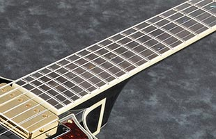 detail image of Ibanez AMH90 showing fingerboard and portion of body