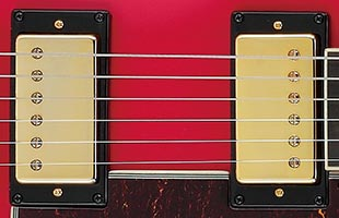 detail image of Ibanez AMH90 showing Ibanez Super 58 pickups