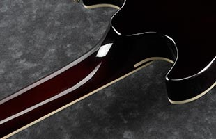 detail back view of Ibanez AR420 showing 3-piece maple neck and portion of body
