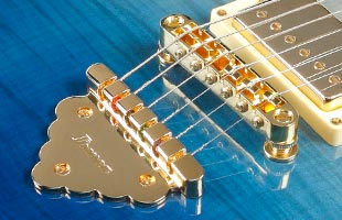 detail top view of Ibanez AR420 showing Gibraltar Performer bridge and Quik Change Classic tailpiece