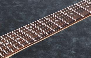 detail top view of Ibanez AR420 showing jatoba fingerboard