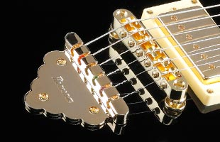 detail top view of Ibanez AR520 showing Gibraltar Performer bridge and Quik Change Classic tailpiece