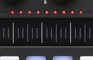detail image of PreSonus Atom SQ top panel showing loop point LED lamps