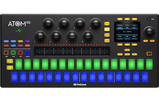 top view of PreSonus Atom SQ with step/keyboard pads lit up in blue and green colors