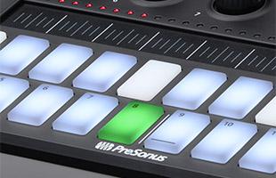 detail image of PreSonus Atom SQ top panel showing lit/staggered keyboard step pads