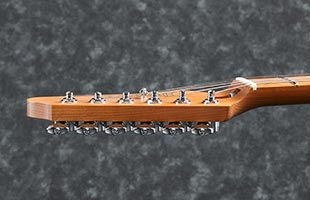 side profile view of Ibanez AZ2204B showing Gotoh Magnum Lock machine heads with height-adjustable posts