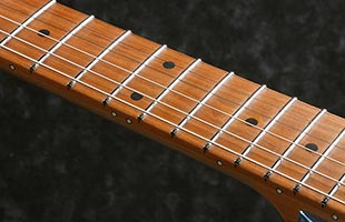 detail image of Ibanez AZ2204B showing portion of side of neck and fingerboard