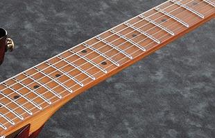detail image of Ibanez AZ224BCG showing roasted maple fretboard with jumbo stainless steel frets