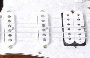 detail image of Ibanez AZ224BCG showing Seymour Duncan Hyperion pickups
