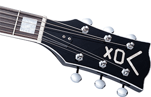 detail image of Vox Bobcat V90 showing headstock and Grover open-hear tuning heads