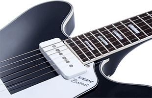 detail image of Vox Bobcat V90 showing fixed Tune-o-matic bridge