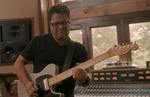 close-up image of Brent Mason playing Fender Brent Mason Telecaster in recording studio