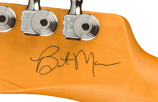 detail image of Fender Brent Mason Telecaster showing Brent Mason signature on back of headstock