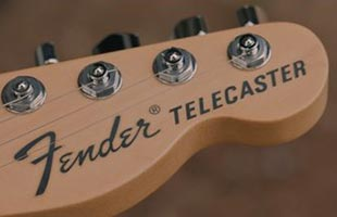 detail image of Fender Brent Mason Telecaster showing top of headstock