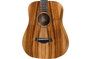 close-up perspective view of Taylor BTe-Koa showing top and right side of body
