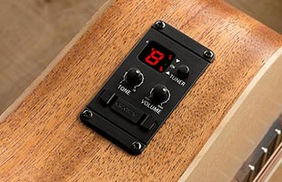 detail image of Taylor ES-B electronics control panel mounted on side of acoustic guitar