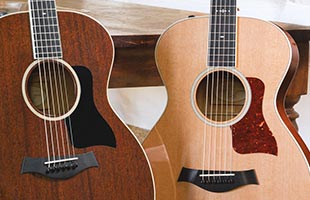 close-up image of two non-cutaway Taylor acoustic guitars resting against table