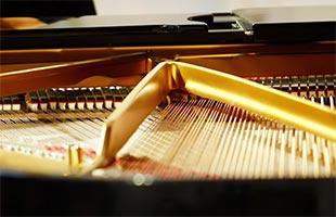 close-up image of grand piano interior showing strings
