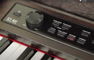 detail image of Korg C1 Air control panel showing effects controls