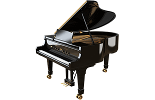 three-quarters view of grand piano showing right side, front and top