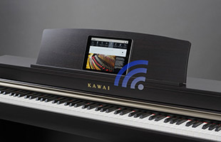 Kawai digital piano with tablet device resting on music rest with superimposed Bluetooth radio wave graphic