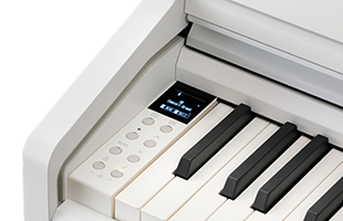 detail image of Kawai CA49 digital piano showing control panel and keybed