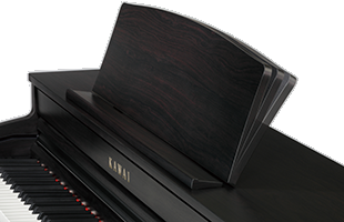 detail image of Kawai CA49 digital piano demonstrating three angle adjustments available for music rest