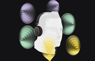 illustration of head wearing headphones with sound bubble overlays demonstrating Kawai Spatial Headphone Sound technology