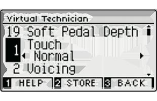 illustration of Kawai CA59 digital piano screen showing Virtual Technician settings