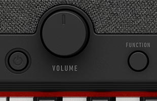 detail image of Casio Casiotone CT-S1 - Black control panel showing power button, volume knob and FUNCTION button