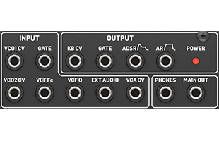 detail image of Behringer Cat panel showing CV and audio inputs and outputs