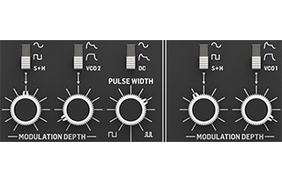 detail image of Behringer Cat panel showing modulation controls