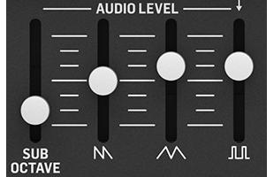 detail image of Behringer Cat panel showing VCO waveform slider controls