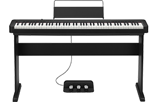 Casio CDP-S350 digital piano on Casio CS-46 stand with Casio SP-34 triple pedal unit underneath