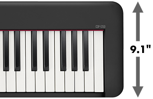 right-hand edge of Casio CDP-S150 digital piano with dimension line and callout showing 9.5-inch depth