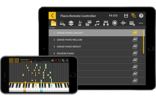 collage showing mobile phone and tablet running Casio Chordana Play for Piano app