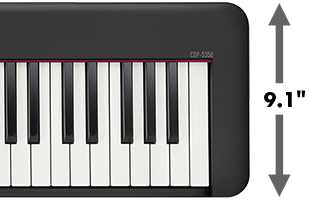 right-hand edge of Casio CDP-S350 digital piano with dimension line and callout showing 9.5-inch depth
