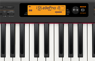 detail image of Casio CDP-S350 digital piano top panel showing screen
