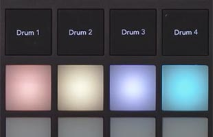 detail image of Novation Circuit Tracks showing four drum track select buttons