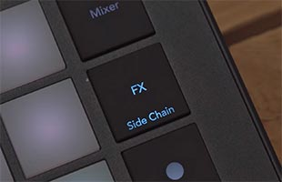 detail image of Novation Circuit Tracks control panel showing FX and Side Chain button with blue lamp lit