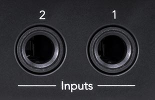 detail image of Novation Circuit Tracks rear panel showing two audio input connectors