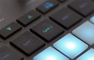detail image of Novation Circuit Tracks control panel showing synth track select buttons