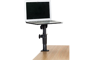 Gator Frameworks Clamp-On Studio Monitor Stand attached to desk with laptop computer resting on it