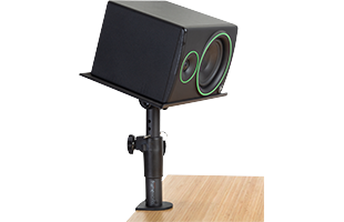 Gator Frameworks Clamp-On Studio Monitor Stand attached with studio monitor resting on it in horizontal orientation with platform tilted forward