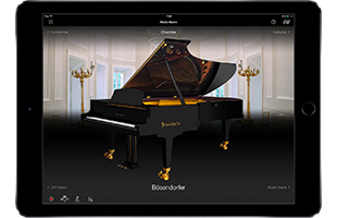 front view of tablet computer running Yamaha Smart Pianist app